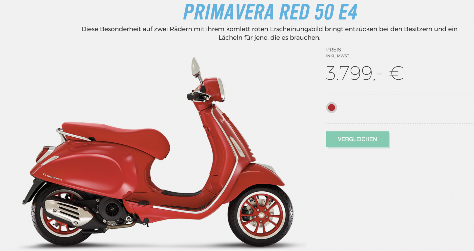 MOTEC Vespa Primavera Red 50 ccm Moped