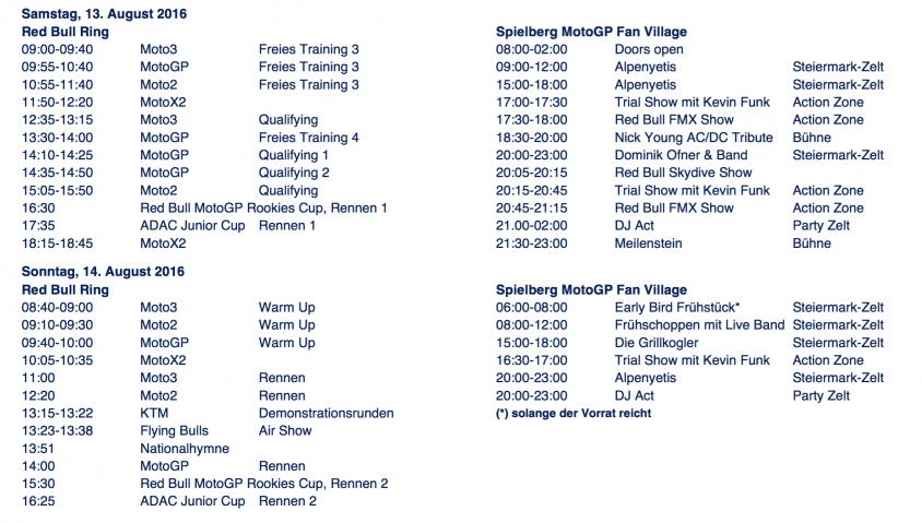 Zeitplan Ablauf - MotoGP - Red Bull - Ring Spielberg   Motorradreporter